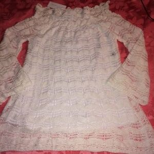 NWT NY&C White Crocheted Sweater S